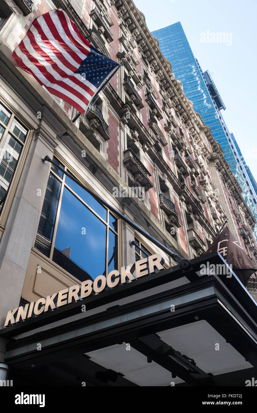 Knickerbocker Hotel Front Entrance Sign,  42nd Street, Times Square, NYC, USA Stock Photo
