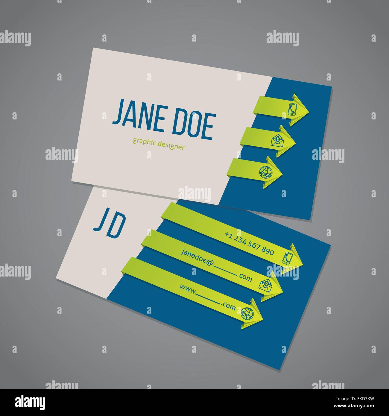 Business card template design with cool arrow ribbons Stock Vector ...