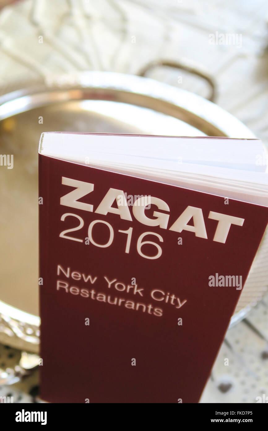 Zagat 2016 new york city restaurant guide, usa stock photo.