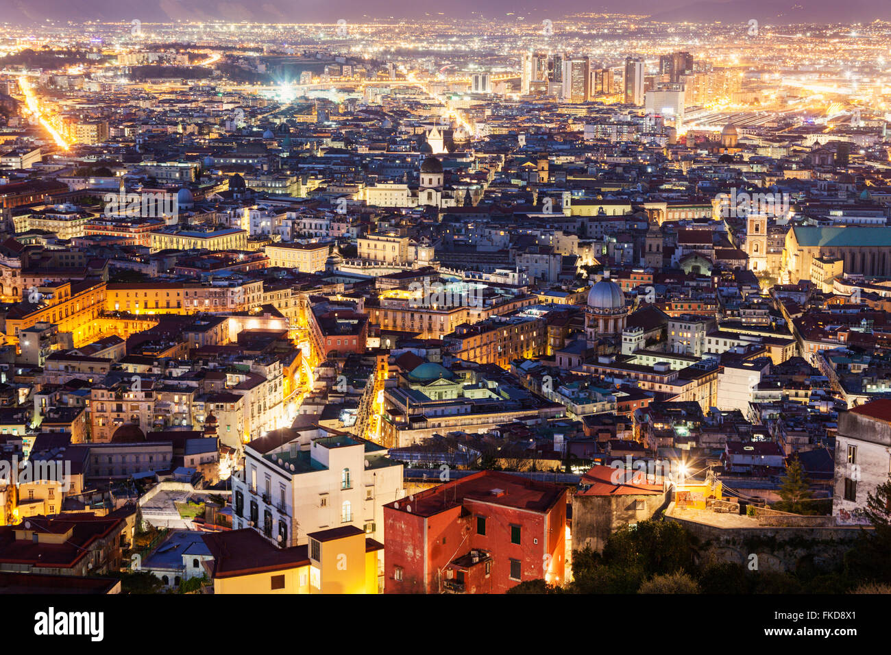 Panorama of city at night - Stock Image