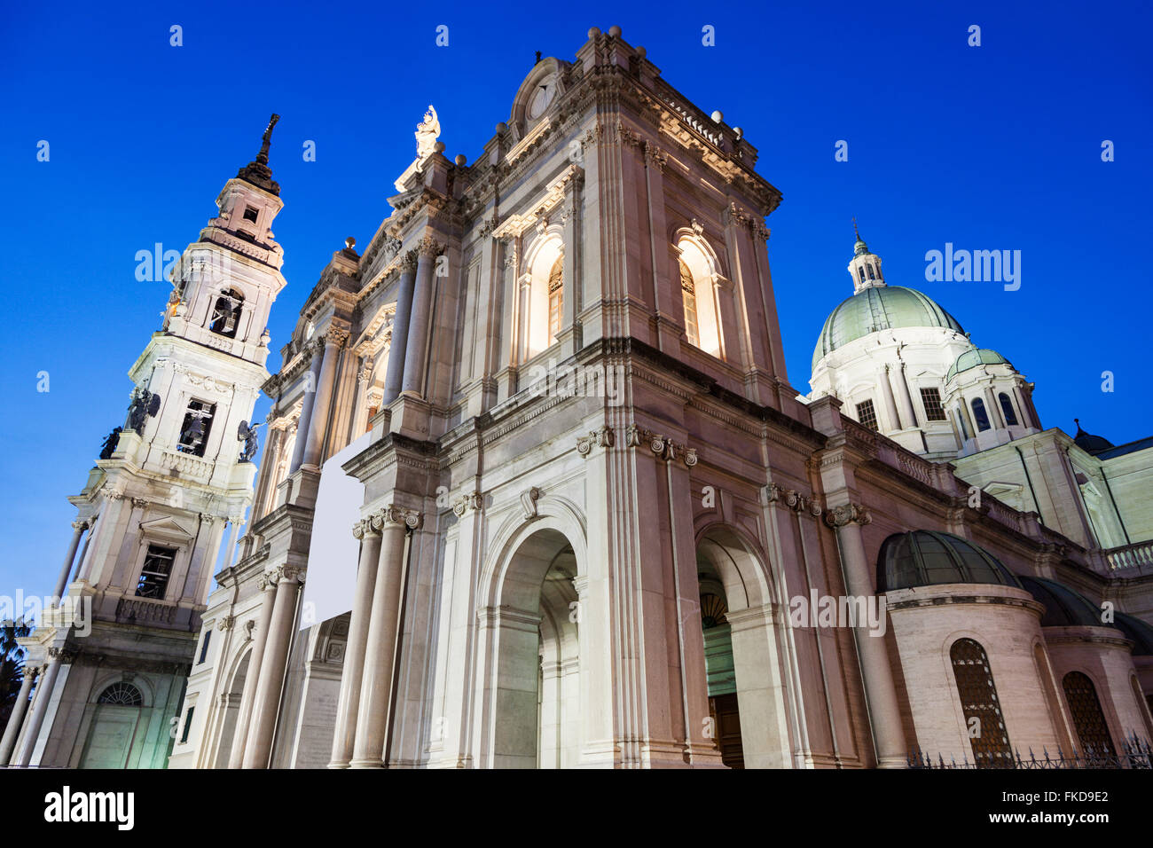 Pontifical Shrine of Blessed Virgin of Rosary at night - Stock Image