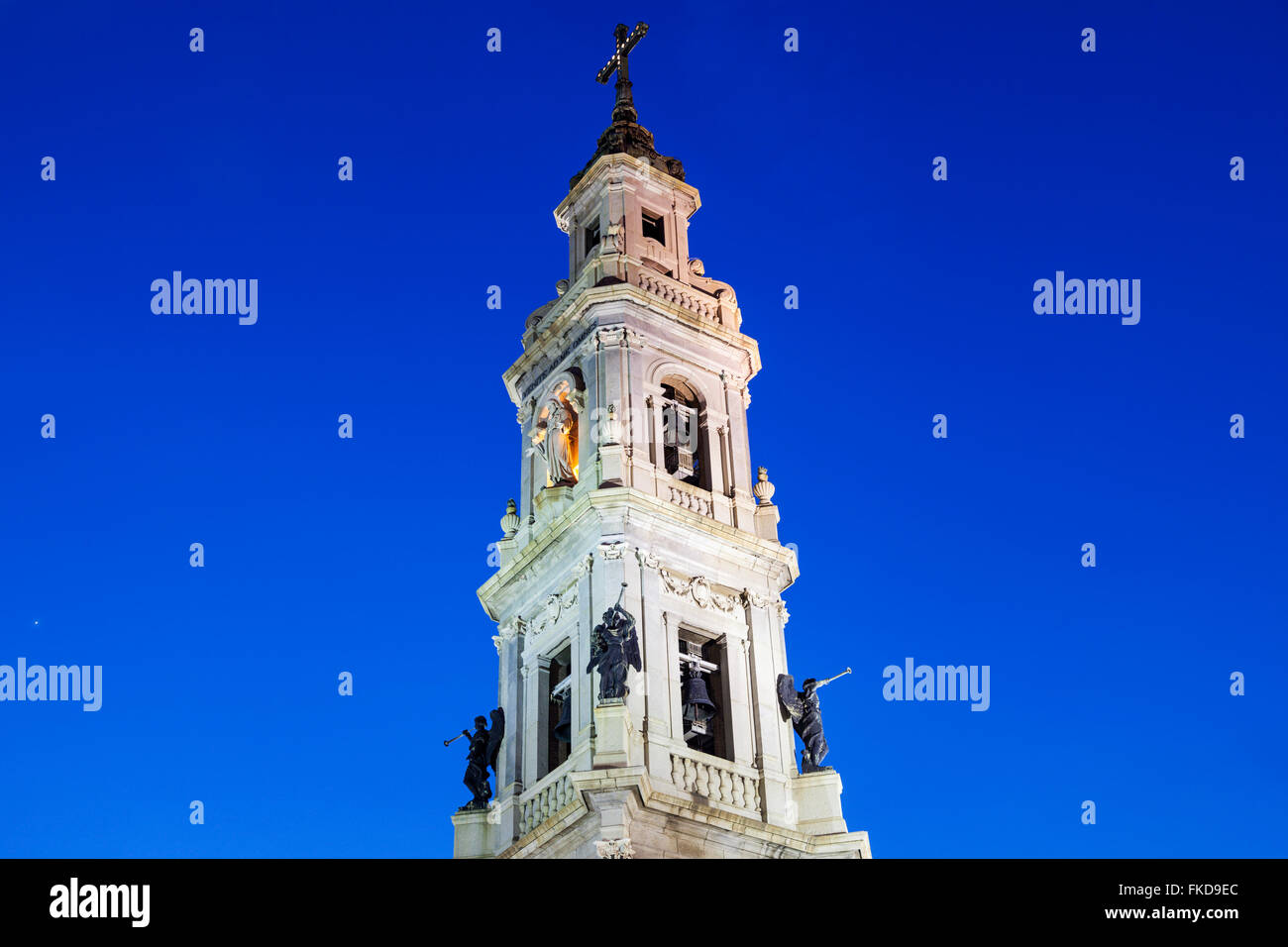 Bell tower of Pontifical Shrine of Blessed Virgin of Rosary at night - Stock Image