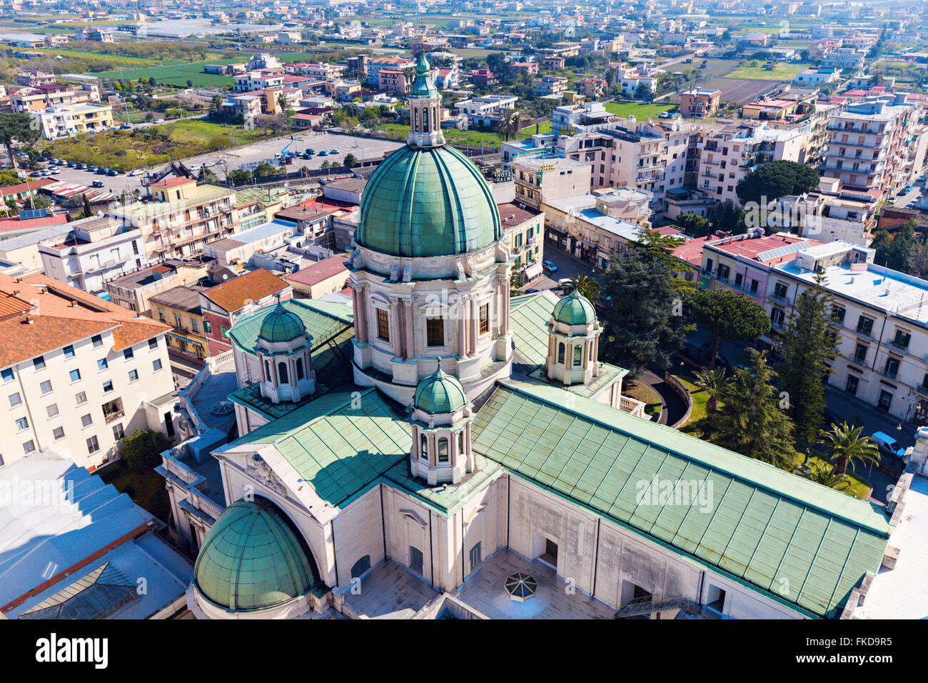Elevated view of Shrine of Virgin of Rosary of Pompeii - Stock Image
