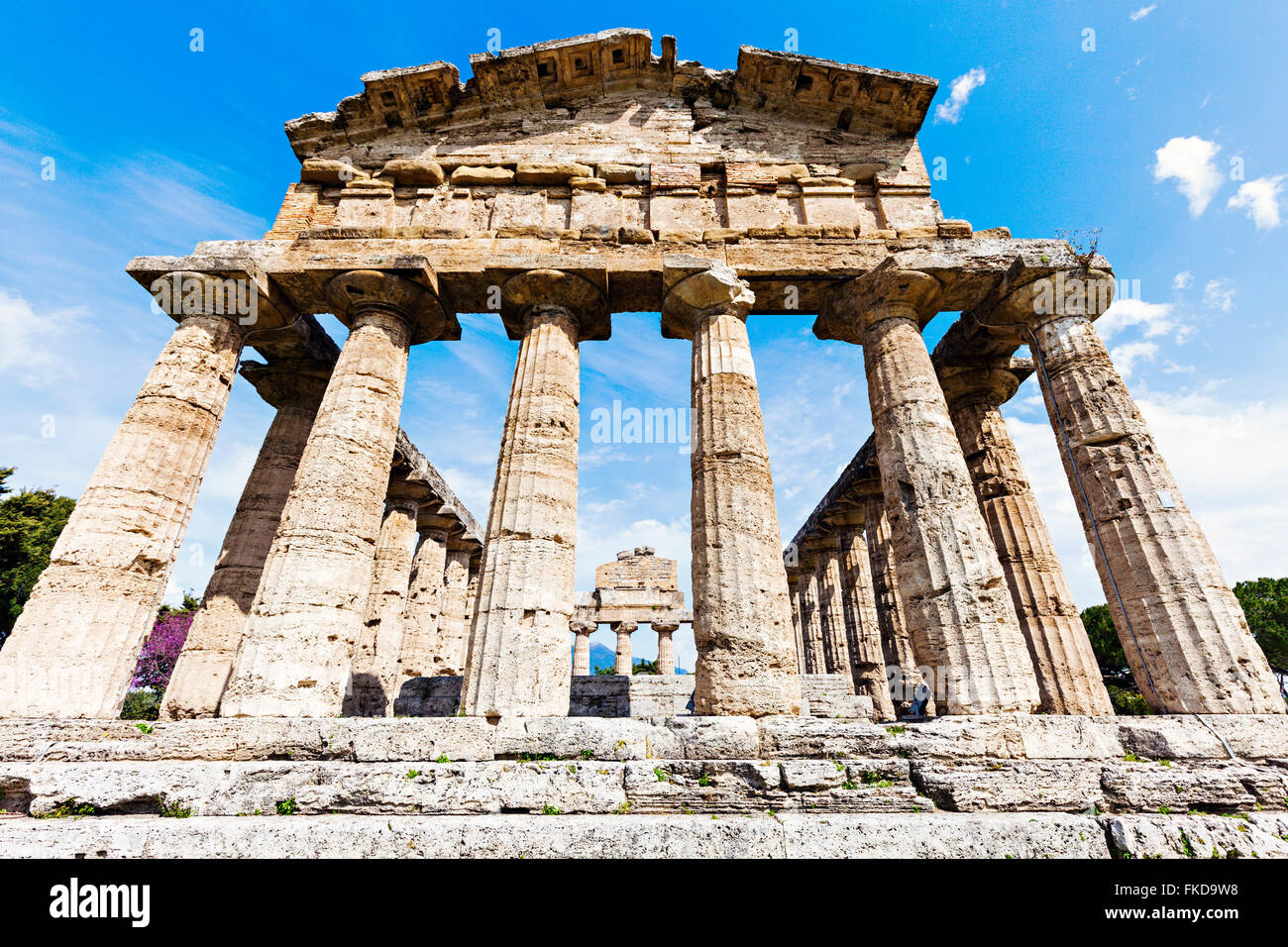 Old architectural columns of Paestum ruins - Stock Image