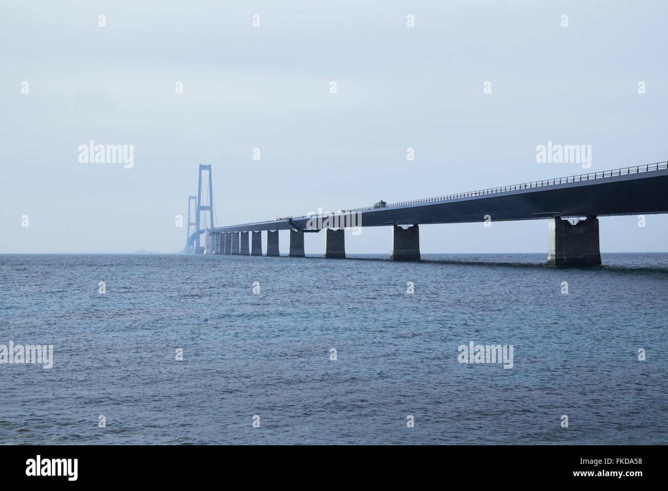 Great belt bridge seen from the Sealand side where the access ramp leads to the pylons - Stock Image