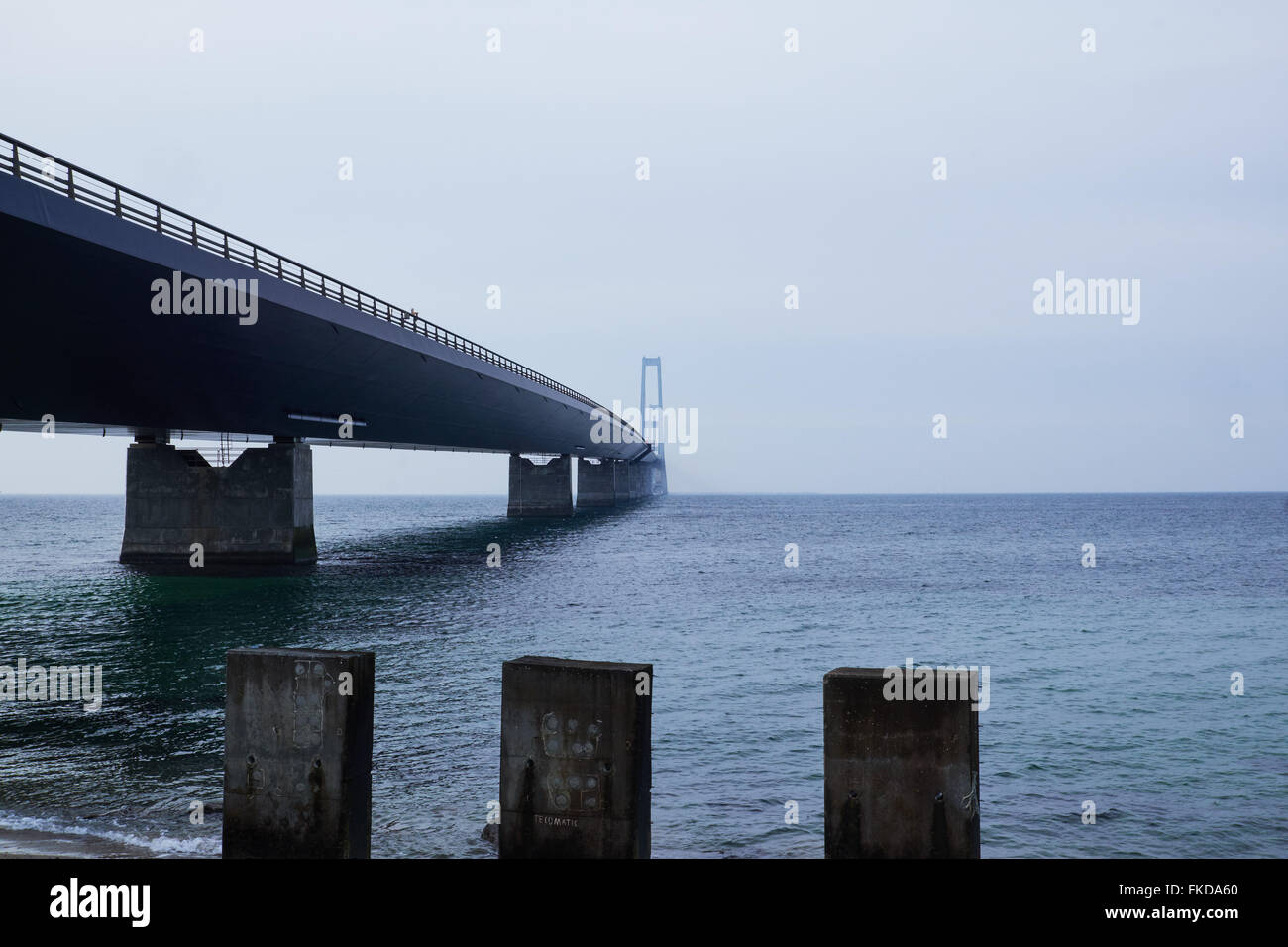 A look under neath the Great belt bridge seen from the Sealand side - Stock Image