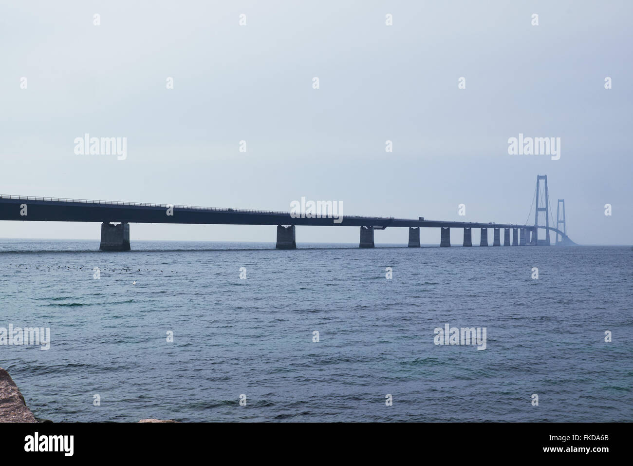 North side of the Great belt bridge seen from the Sealand side - Stock Image