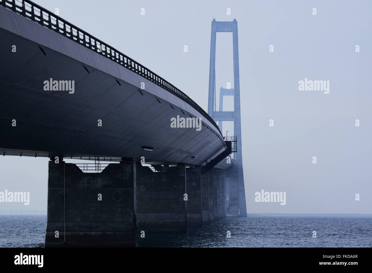 A look a long the north side of the Great belt bridge seen from the Sealand side - Stock Image