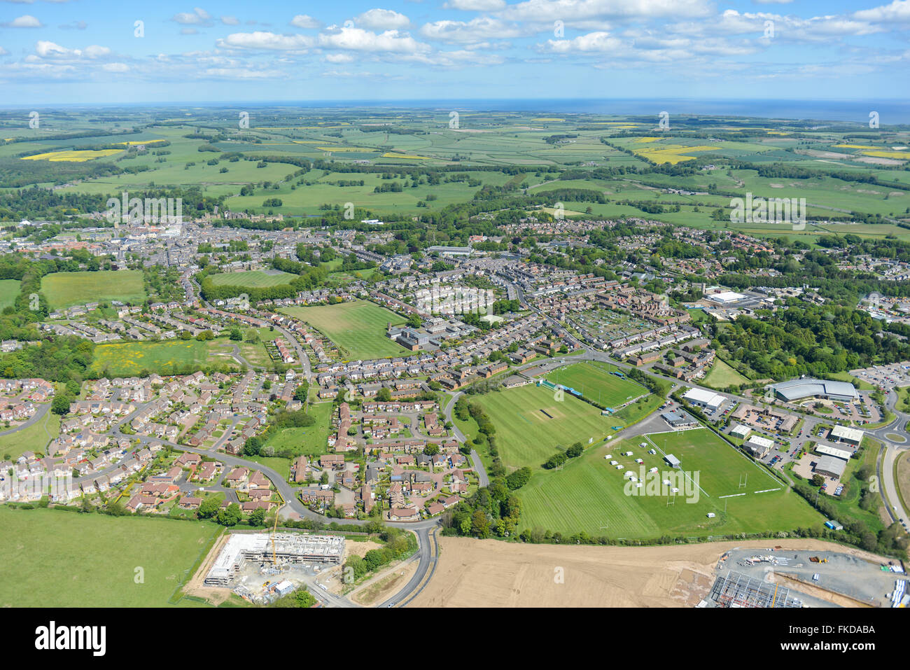 General views of the Northumberland town of Alnwick and surrounding countryside - Stock Image