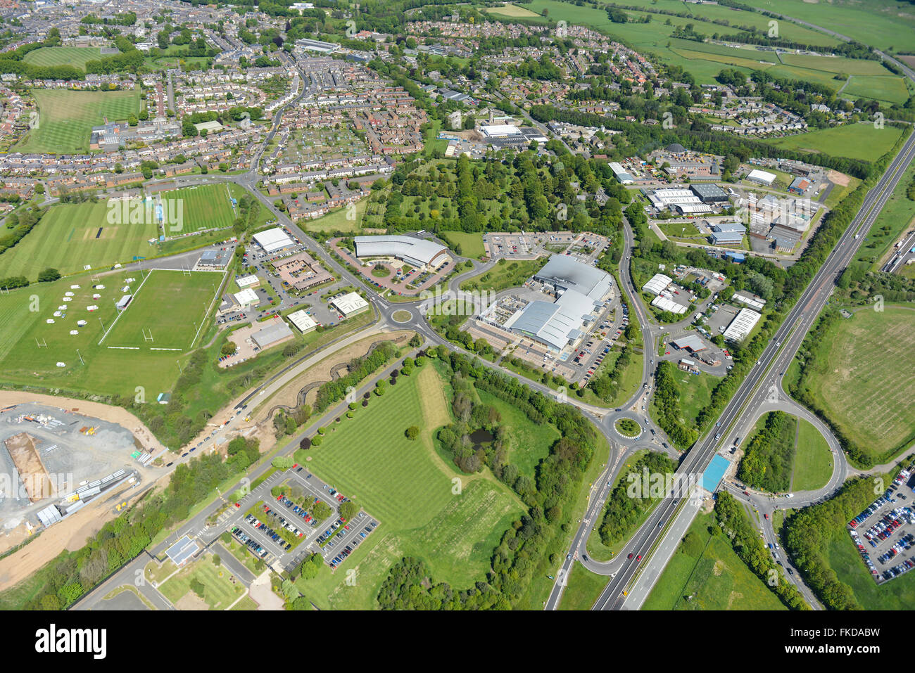 An aerial view of the commercial areas of Alnwick, Northumberland - Stock Image