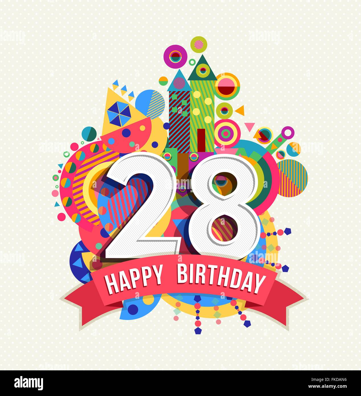 Happy Birthday Twenty Eight 28 Year Fun Celebration Anniversary Greeting Card With Number Text Label And Colorful Geometry