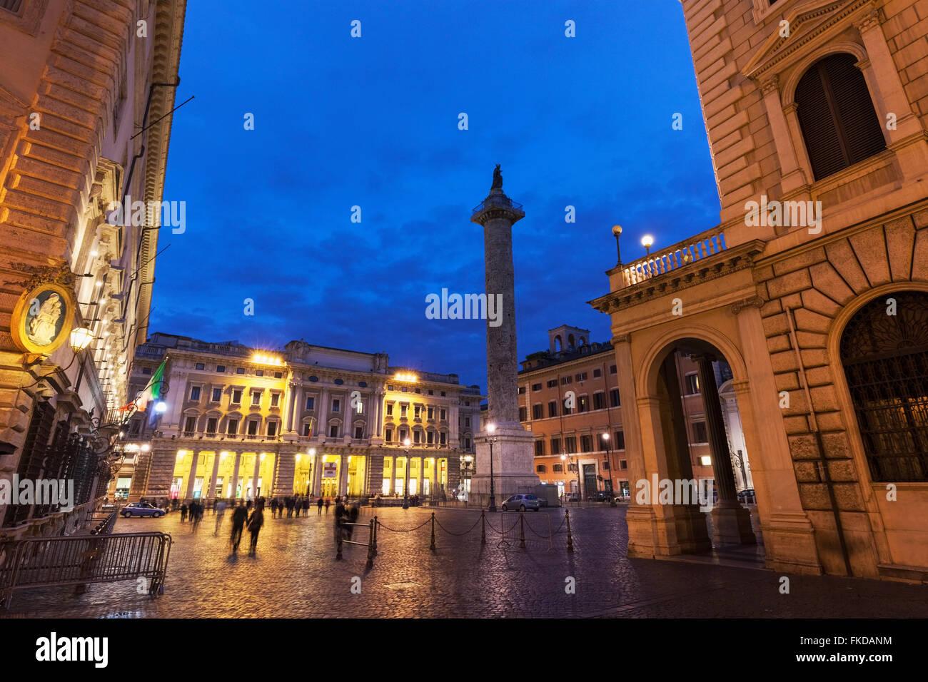 Illuminated Colonna Square with Column of Marcus Aurelius - Stock Image
