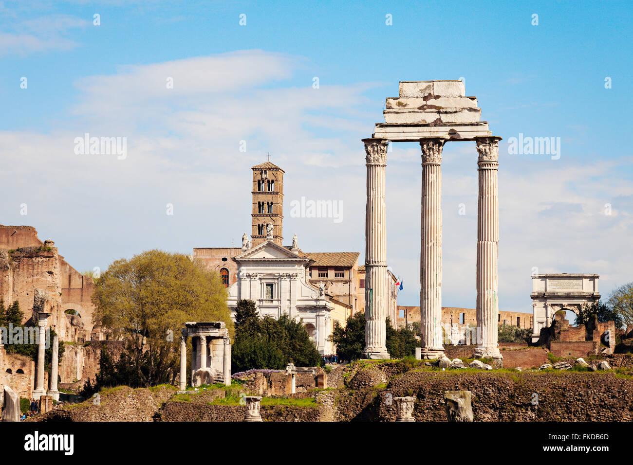 Columns of Roman Forum against blue sky - Stock Image