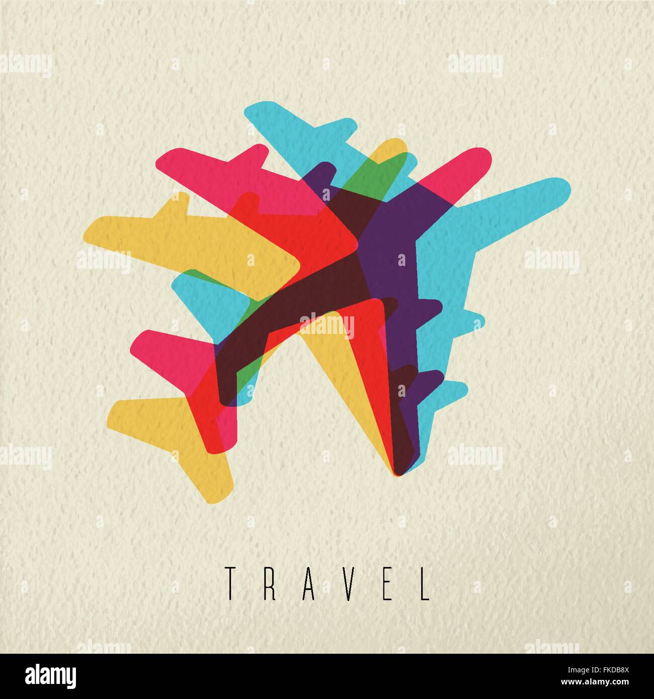 Travel concept illustration with colorful jet plane silhouette on texture background. EPS10 vector. - Stock Image