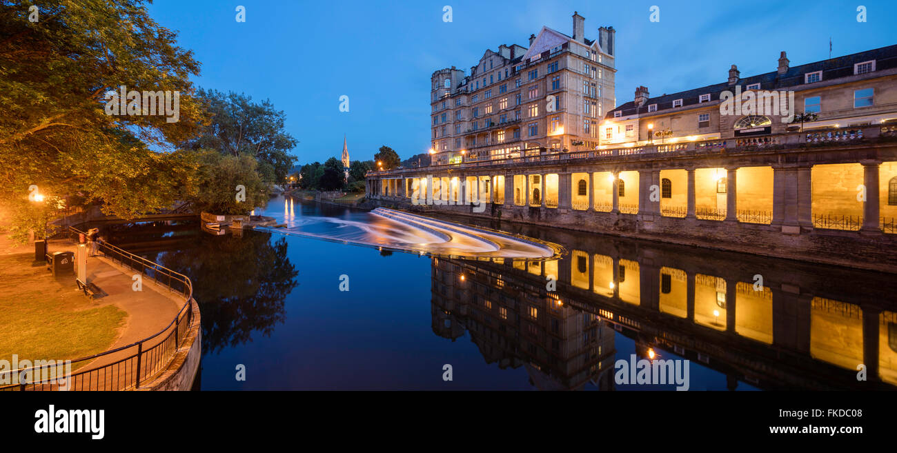 dusk on the River Avon at Bath, Somerset, England, UK - Stock Image