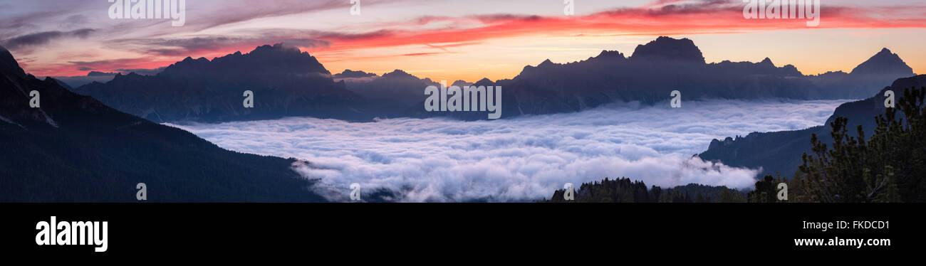 dawn over Monte Cristallo & Cortina d'Ampezzo from Cinque Torri, Dolomite Mountains,  Belluno Province, - Stock Image