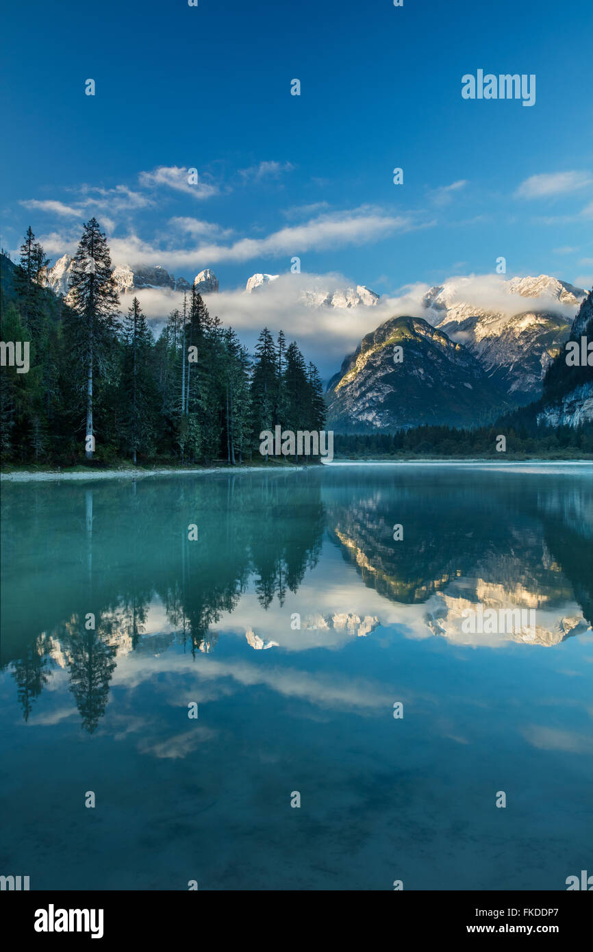 Lago di Landro at dawn, Dolomite Mountains,  Sud Tirol/Alto Adige, Italy - Stock Image