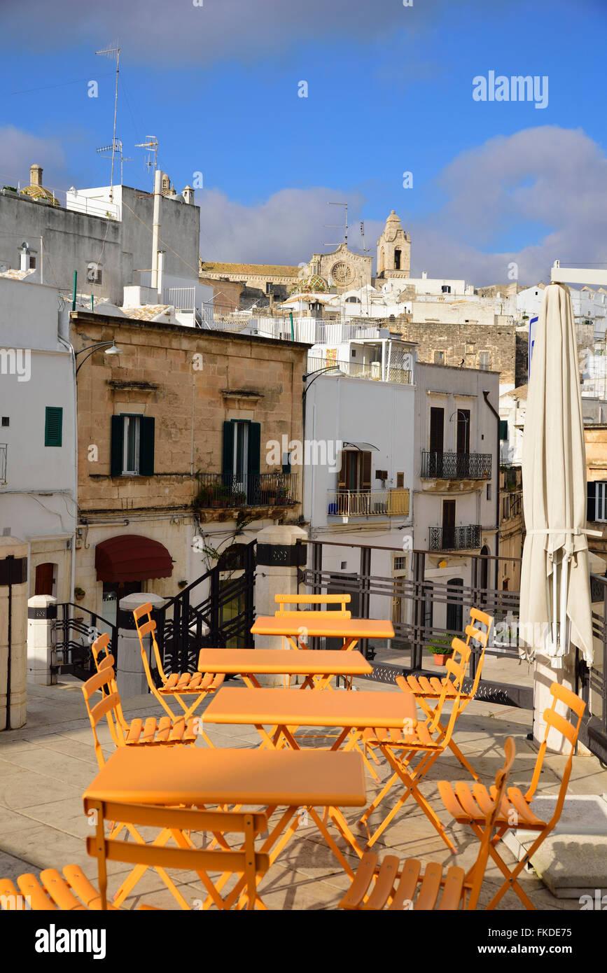 Cafe tables in Piazza della Liberta Stock Photo