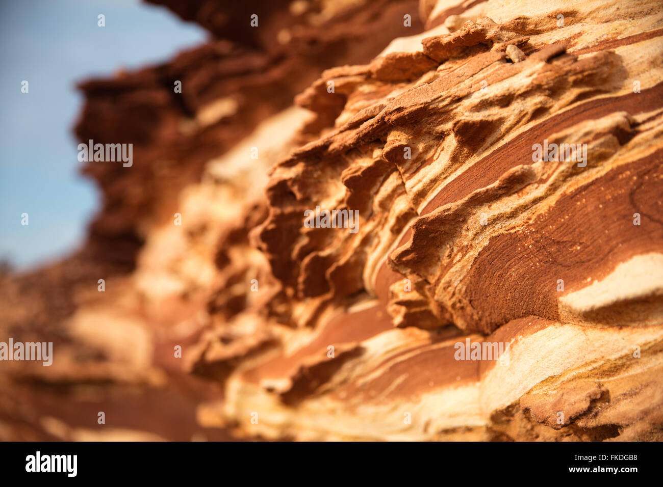 layers of rock on the coast at Kalbarri National Park, Western Australia - Stock Image