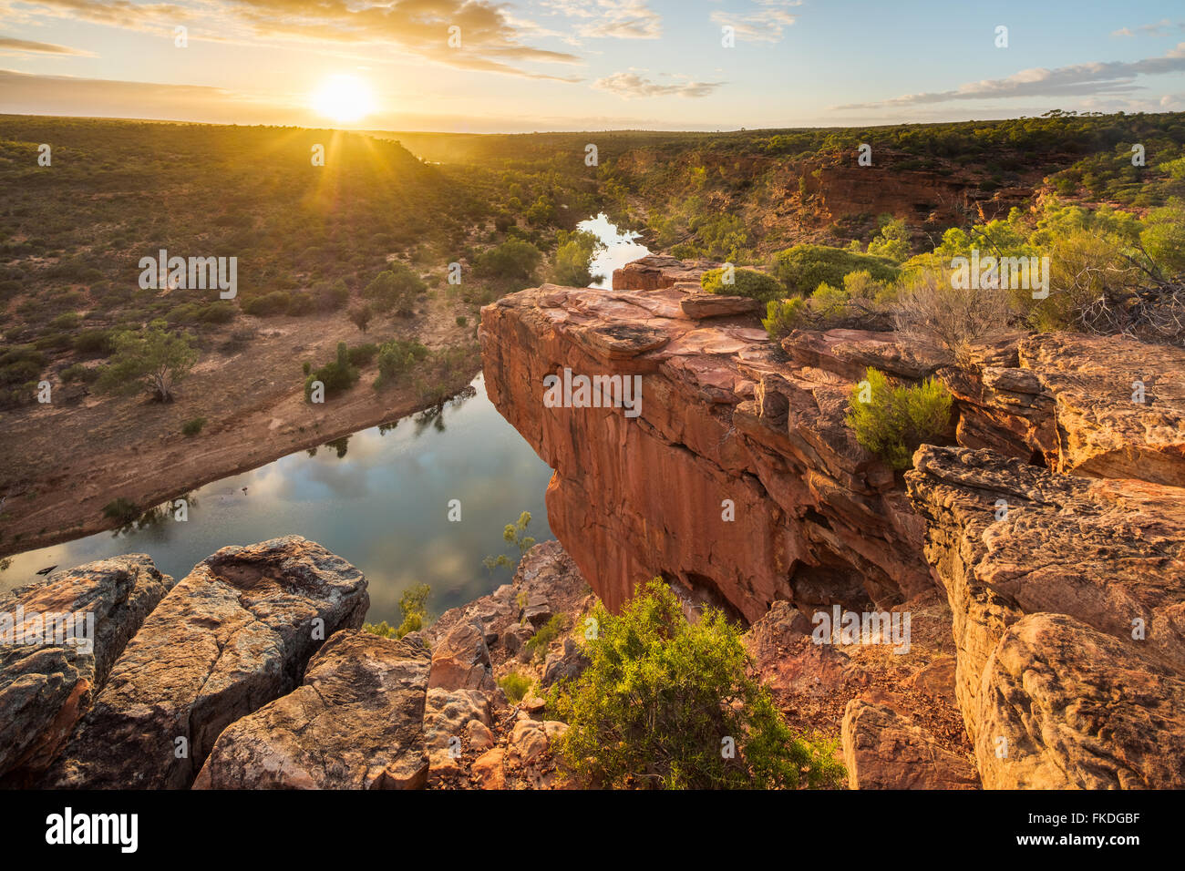 the Hawk's Head lookout over the Murchison River gorge, Kalbarri National Park, Western Australia - Stock Image