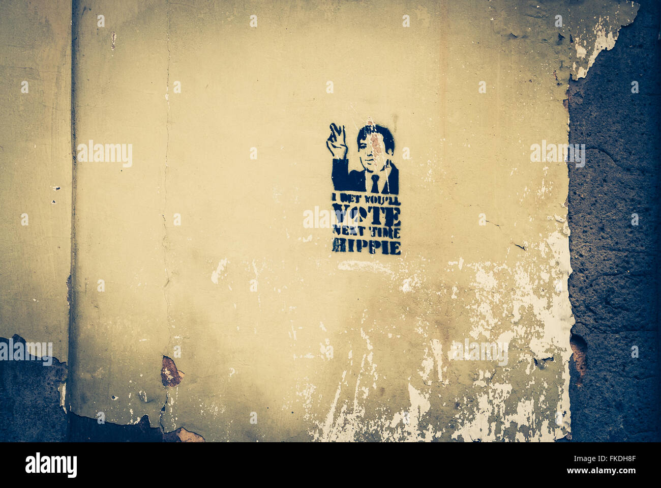 Political statement expressed in street art spray painted on a Stock ...