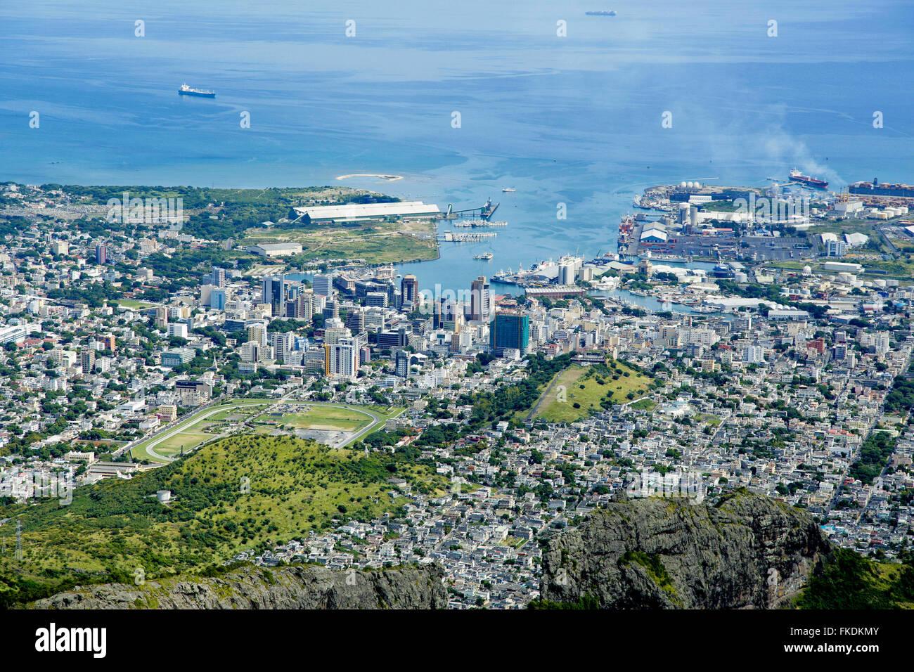 Port Louis Mauritius city skyline over blue sky Stock Photo