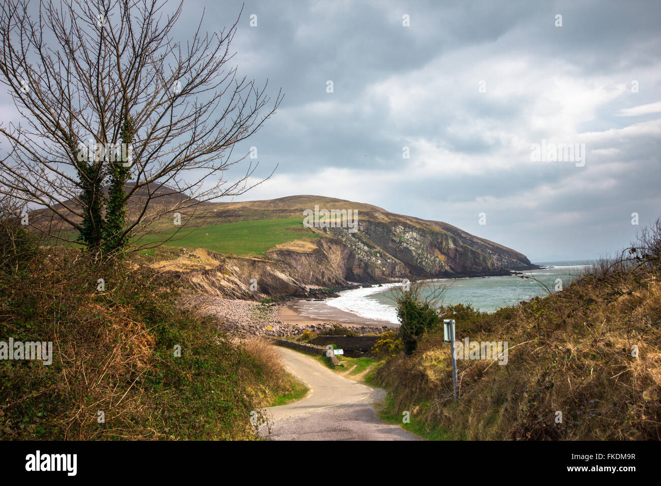 Landscape of the coast and countryside on the Dingle Peninsula in Ireland - Stock Image