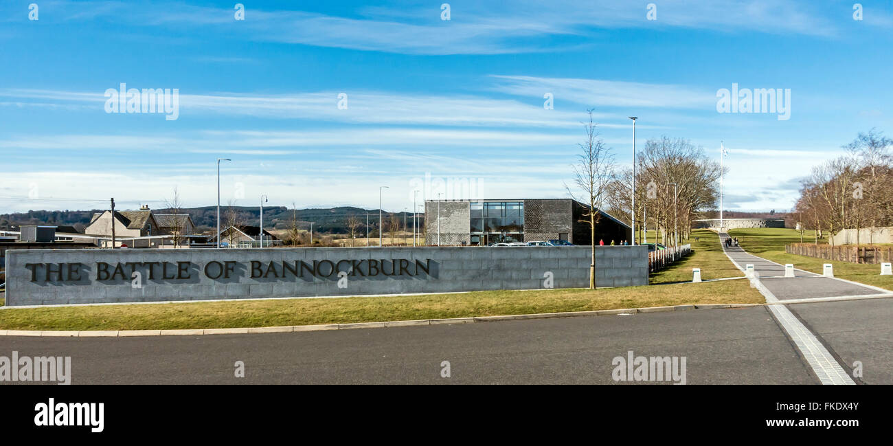 The Battle of Bannockburn visitor attraction in Stirling Scotland with entrance to the left. - Stock Image
