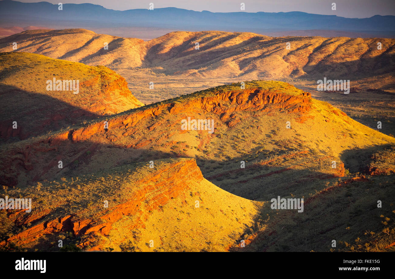 the Pilbara region near Tom Price from Nameless Hill, Western Australia - Stock Image