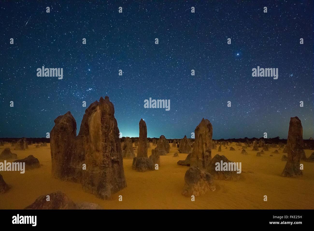 the Pinnacles at night, limestone formations, Nambung National Park, near Cervantes, Western Australia - Stock Image