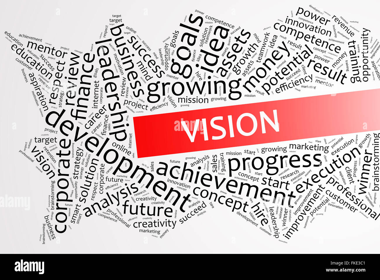 Vision word on word cloud business concept - Stock Image