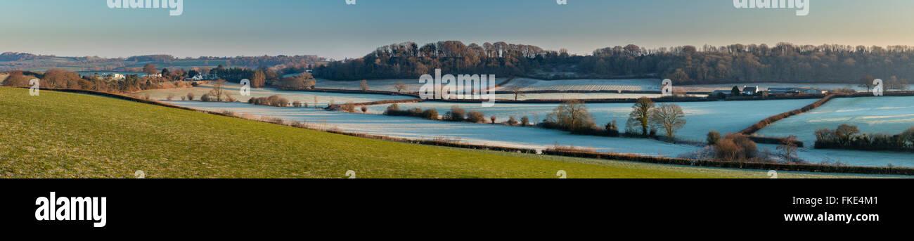 a frosty winter's morning near Milborne Port, Somerset, England, UK - Stock Image