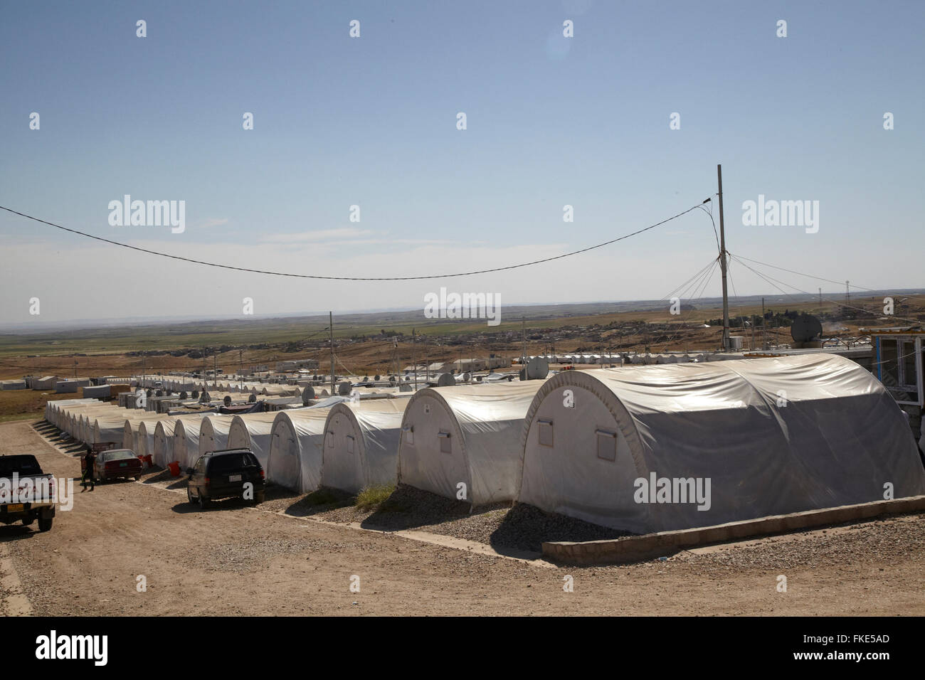 A refugee camp outside Dohuk. Today there are as many refugees in camps outside the city that is home to the residents - Stock Image