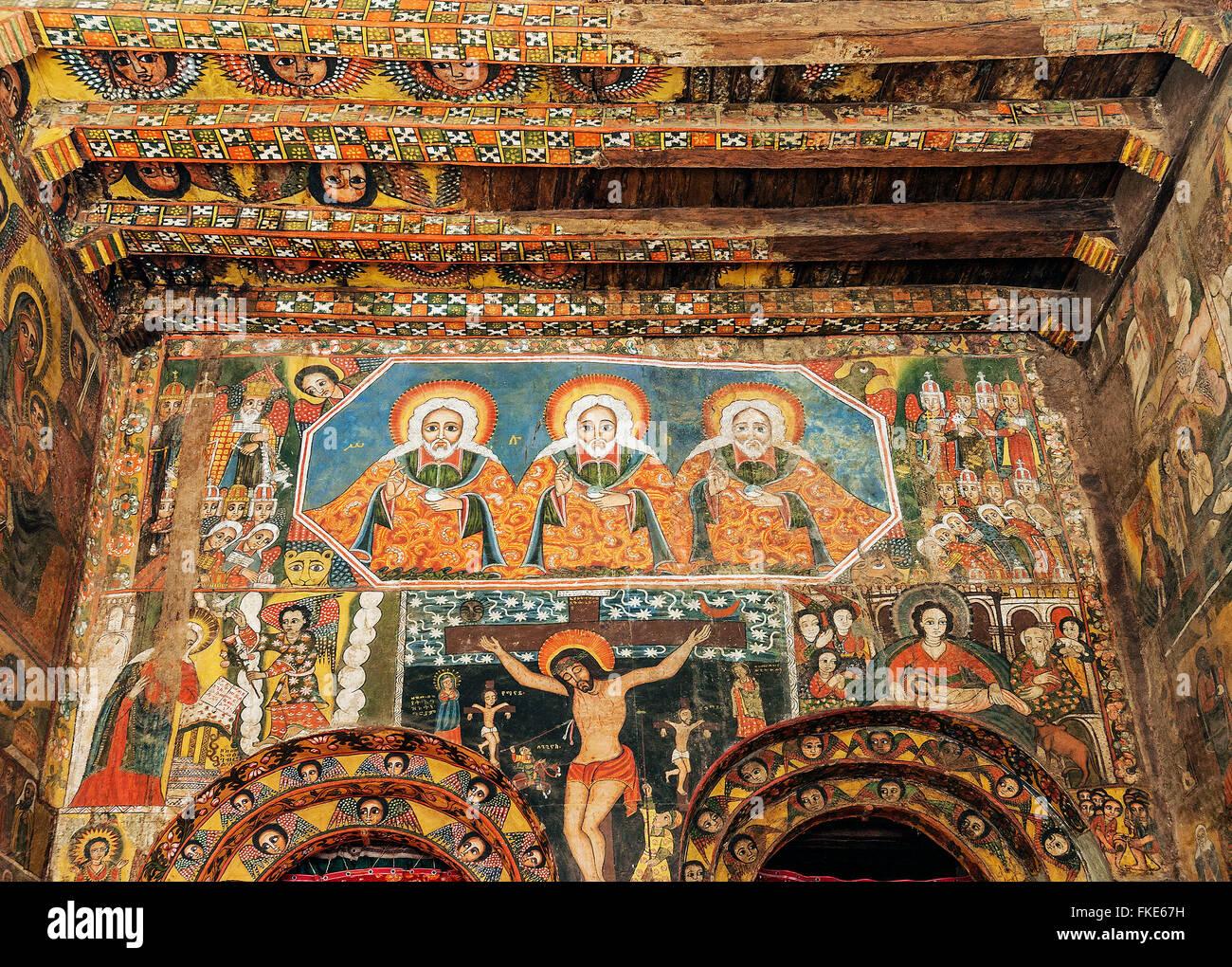 ancient ethiopian orthodox church interior painted walls in gondar ethiopia - Stock Image