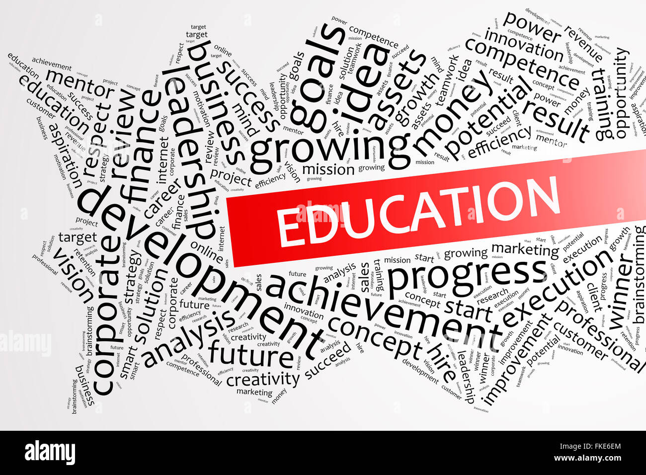 Education word on word cloud business concept - Stock Image