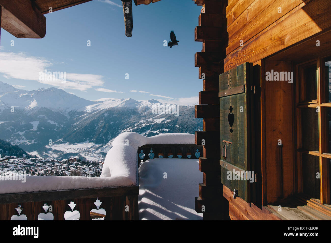 A chalet's view of Verbier, in the Swiss ski resort. - Stock Image