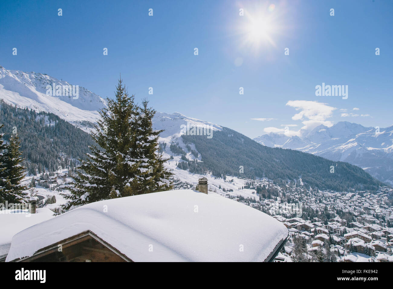 A view of the Swiss ski resort, Verbier. - Stock Image