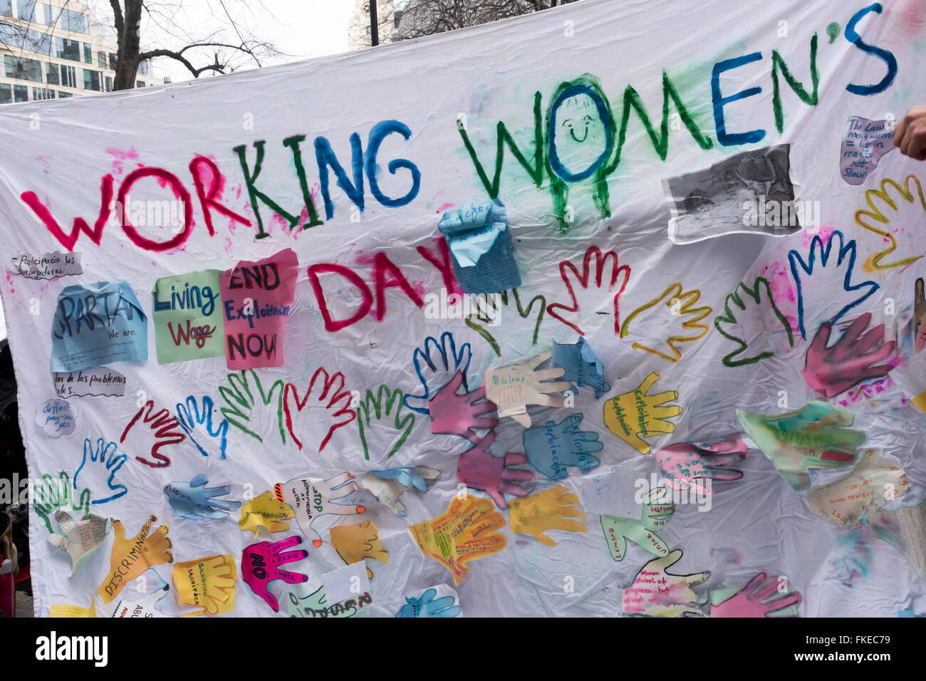 London, UK. 8th March, 2016. For their banner for the International Women's Day protest IWGB union members had - Stock Image