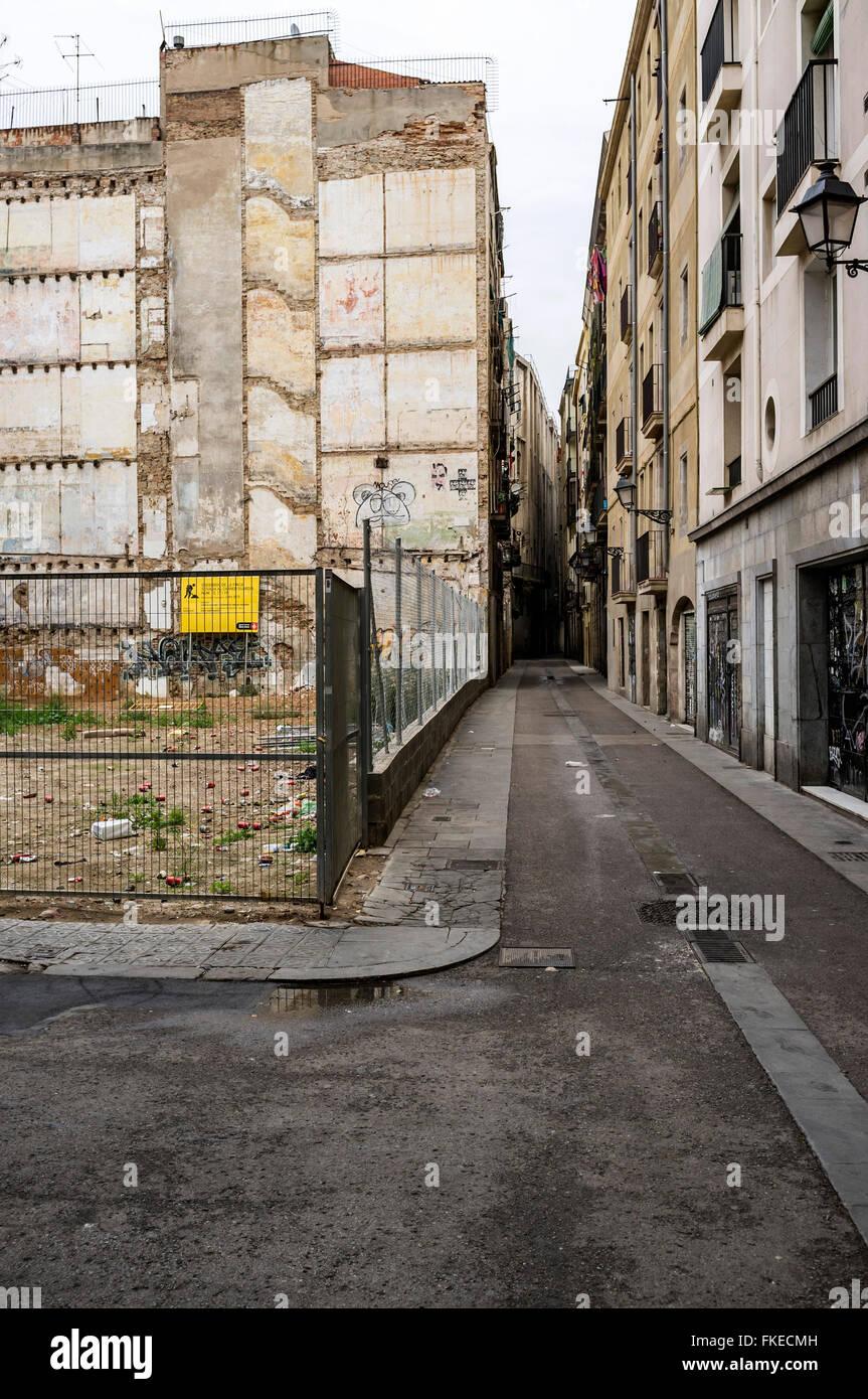Street, El Raval, Barcelona. - Stock Image
