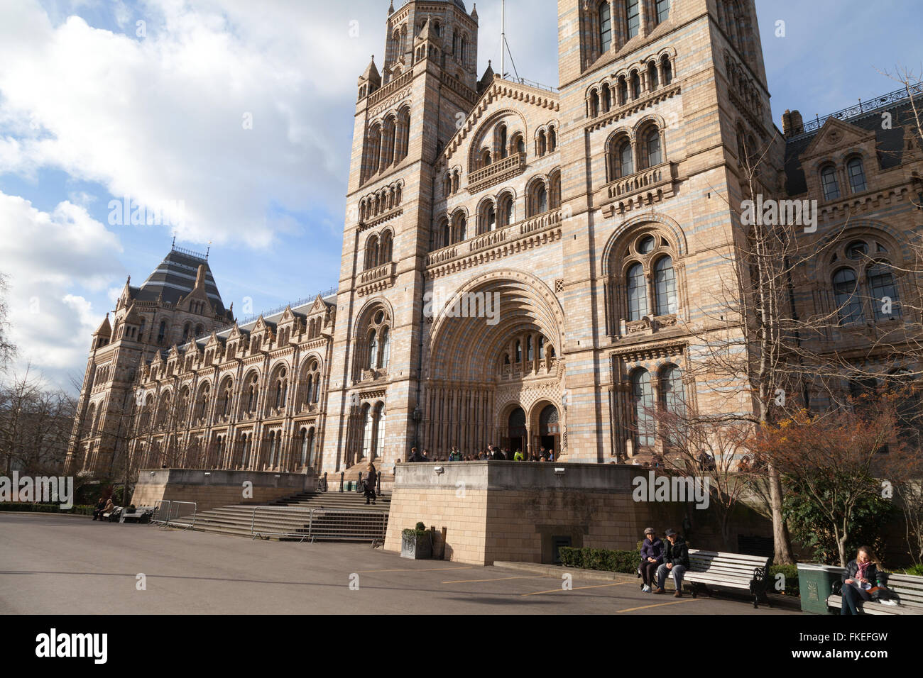 The exterior facade of the Natural History Museum, London UK - Stock Image