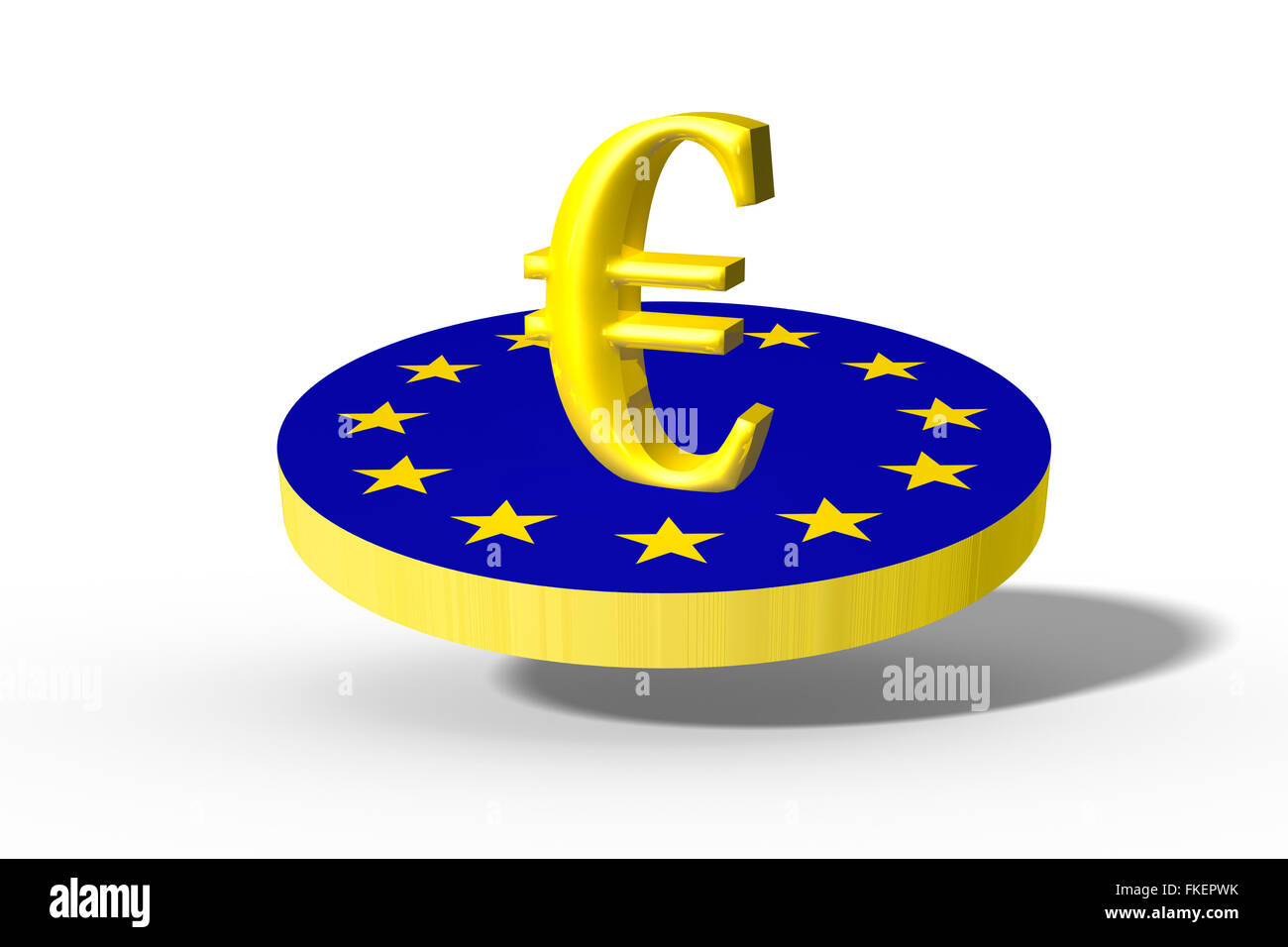CGI of the Euro sign on the european flag, 3D graphics - Stock Image