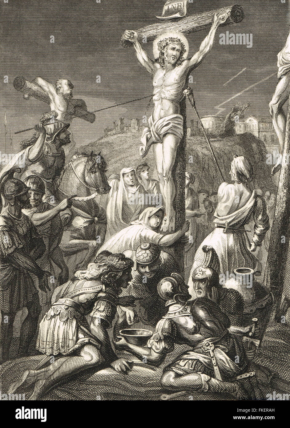 Crucifixion of Christ Engraving of 1839 - Stock Image