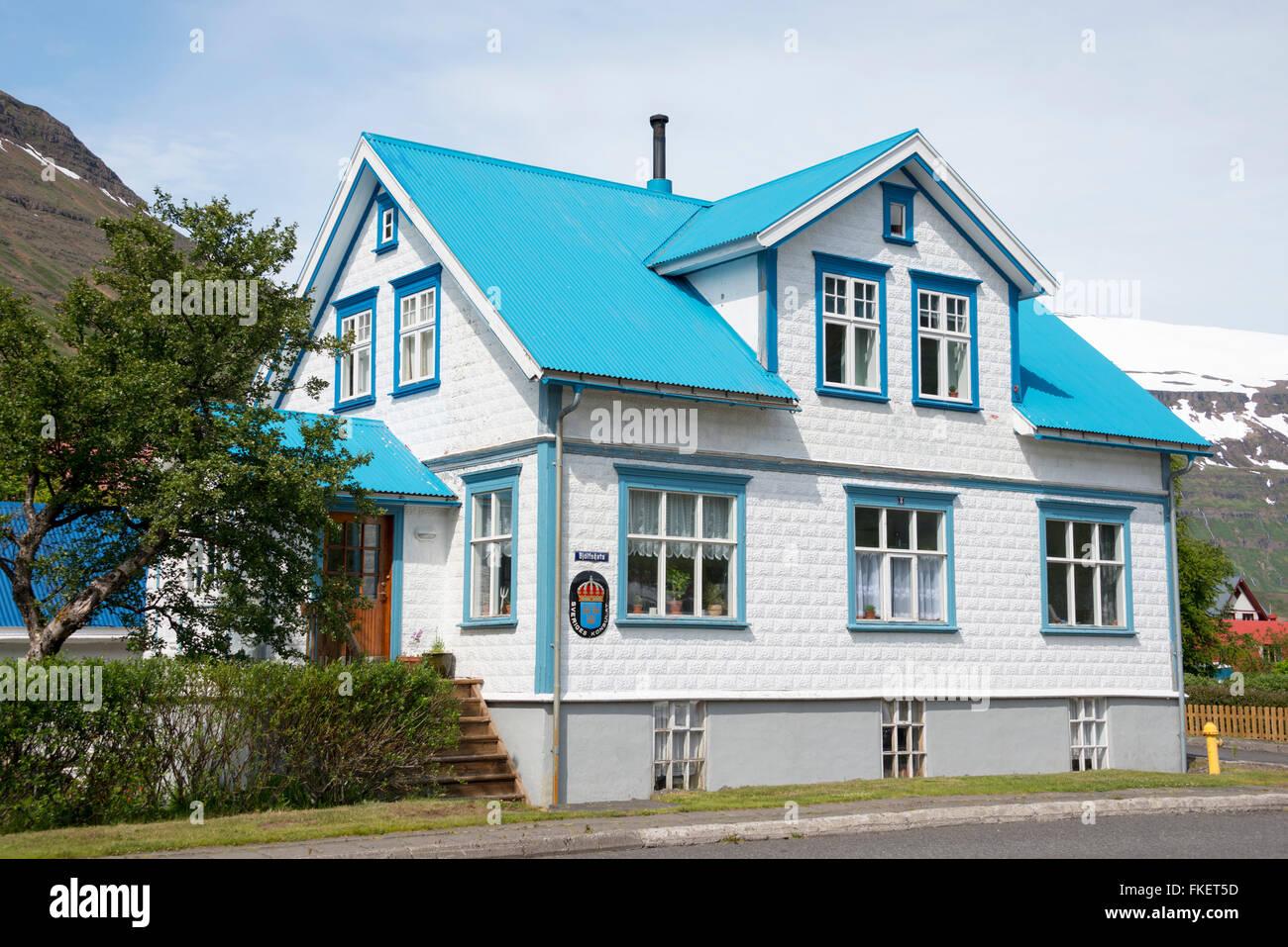 Swedish consulate, Seydisfjordur, Iceland - Stock Image