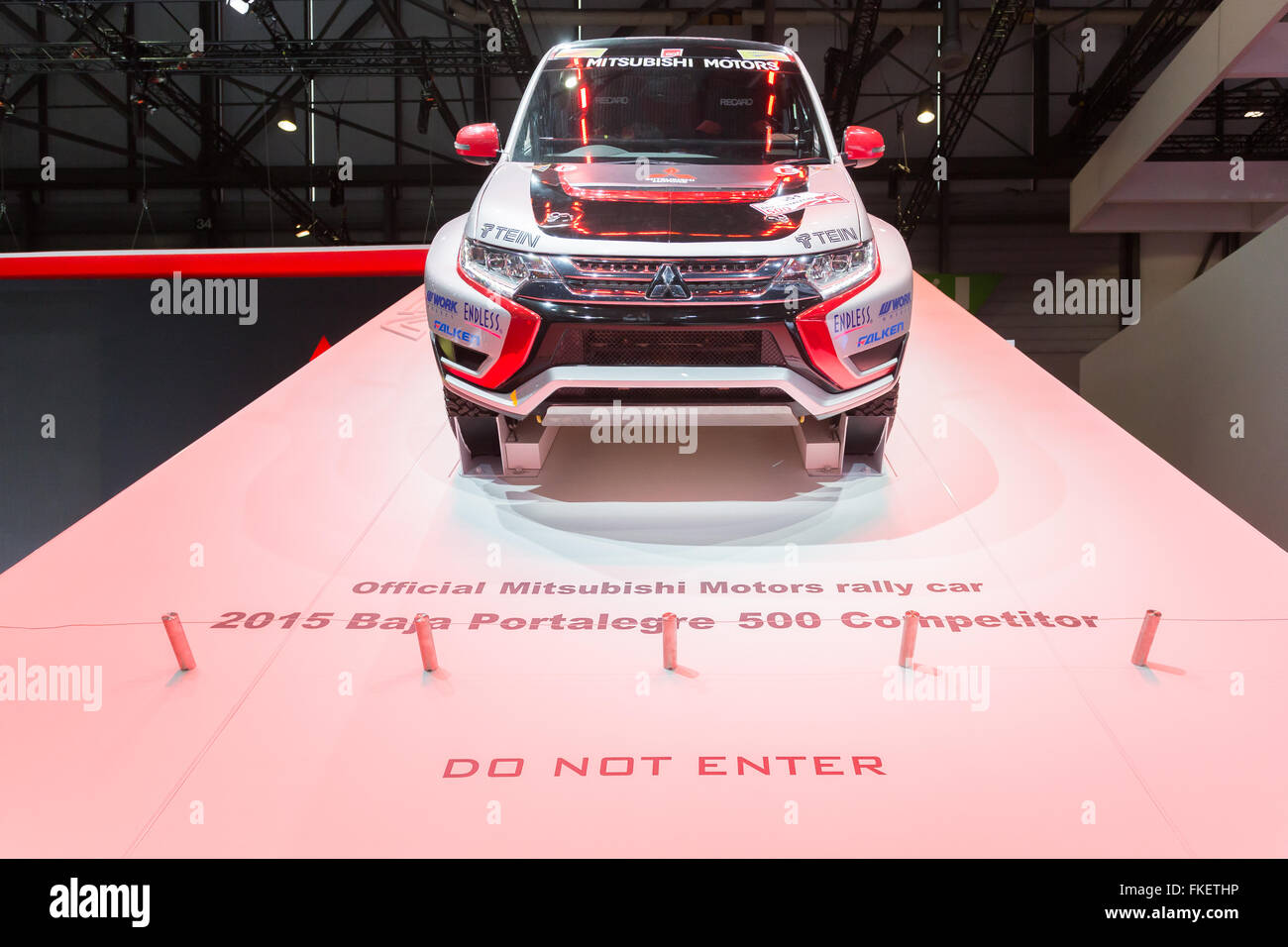 Official mitsubishi motors rallye car 2015 baja portalegre 500 competitor, car show in Geneva in 2016. - Stock Image