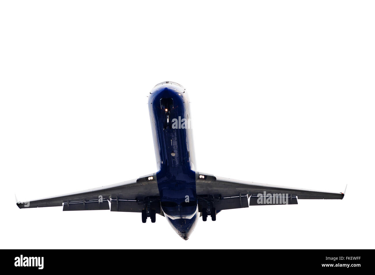 Jet Airliner Descending To Land - Stock Image