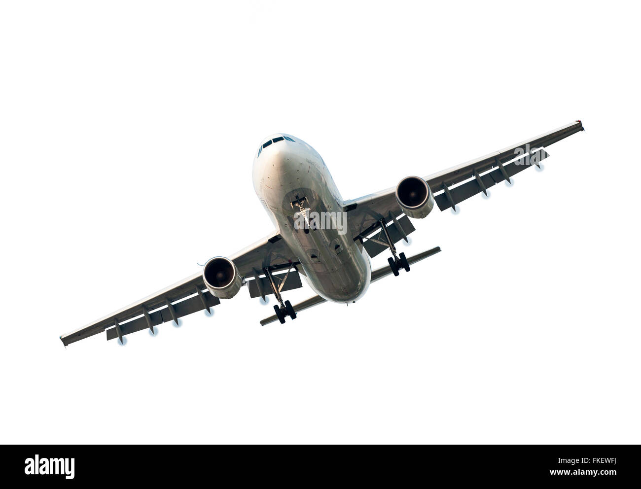 Large Commercial Airplane Isolated On White - Stock Image
