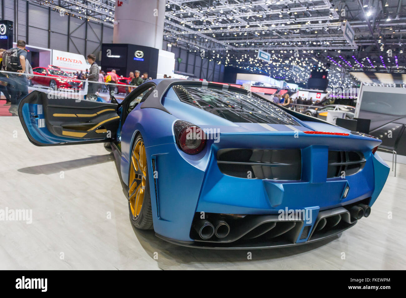 A ferrari at the 2016 automotive show in Geneva, Switzerland. Stock Photo