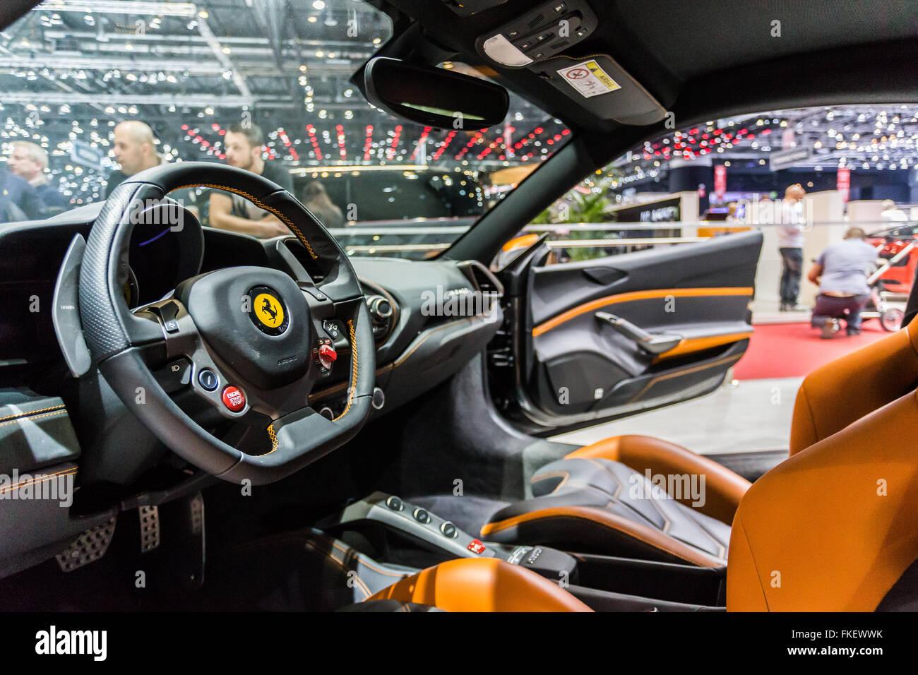 car show in Geneva in 2016, Ferrari - Stock Image