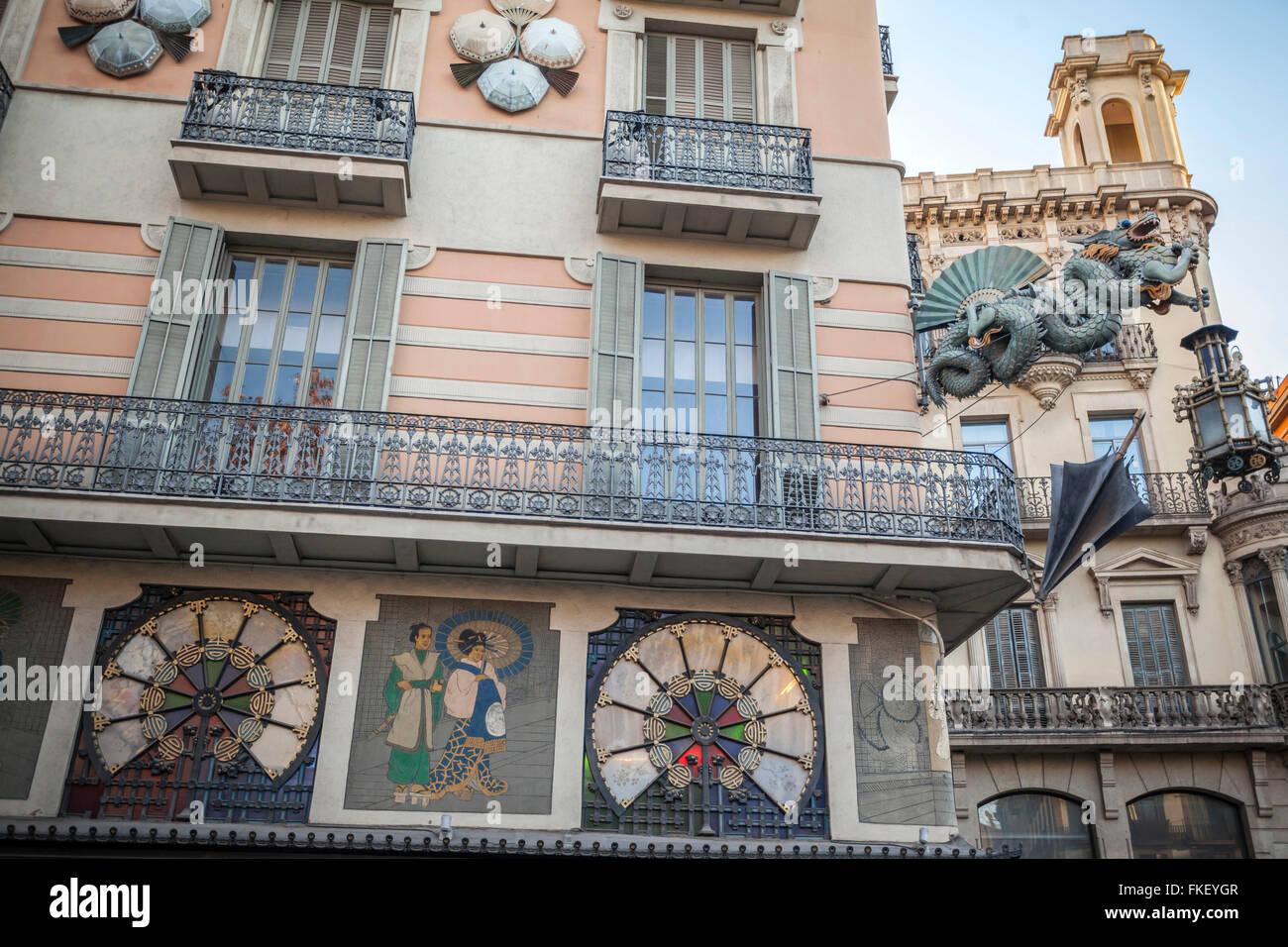 Casa Bruno cuadros, La Rambla, Barcelona. - Stock Image