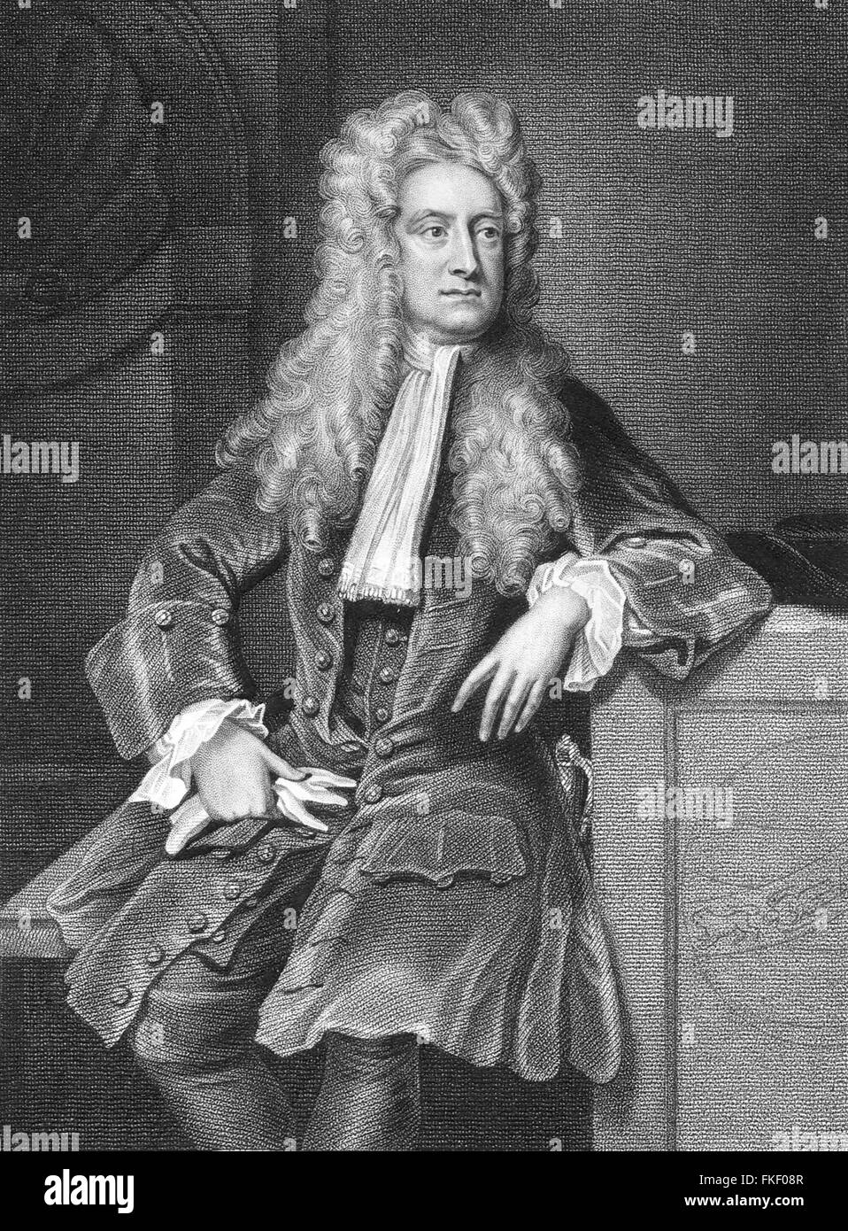 Sir Isaac Newton, the 17th/18thC English physicist and mathematician. Portrait by William Derby and engraving by - Stock Image